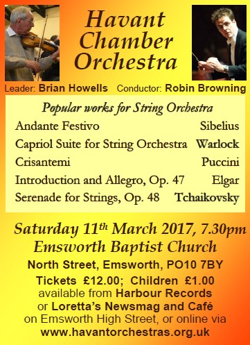 HCO Concert at Emsworth Baptist Church 11th March 2017