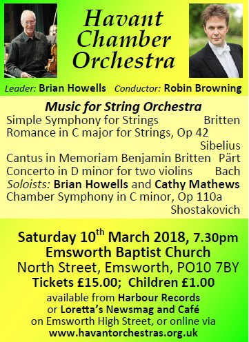 HCO Strings Concert at Emsworth Baptist Church 10th March 2018