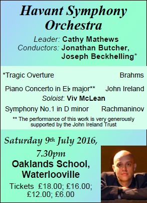 HSO Concert at Oaklands School 9th July 2016