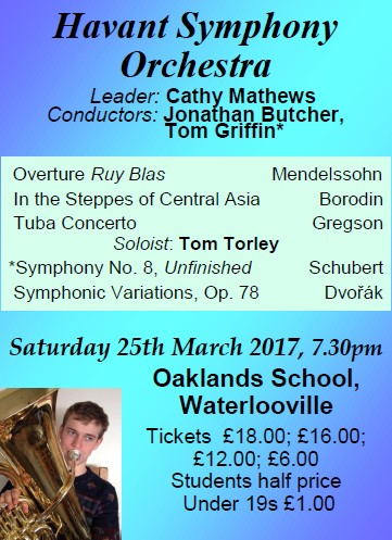 HSO Concert at Oaklands School 25th March 2017