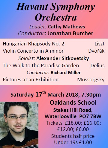 HSO Concert at Oaklands School 17th March 2018