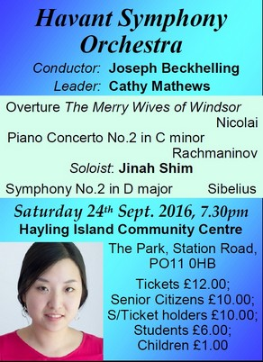 HSO Concert at Hayling Island 24th September 2016